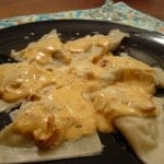 Mushroom Ravioli with Sundried Tomato Cream Sauce