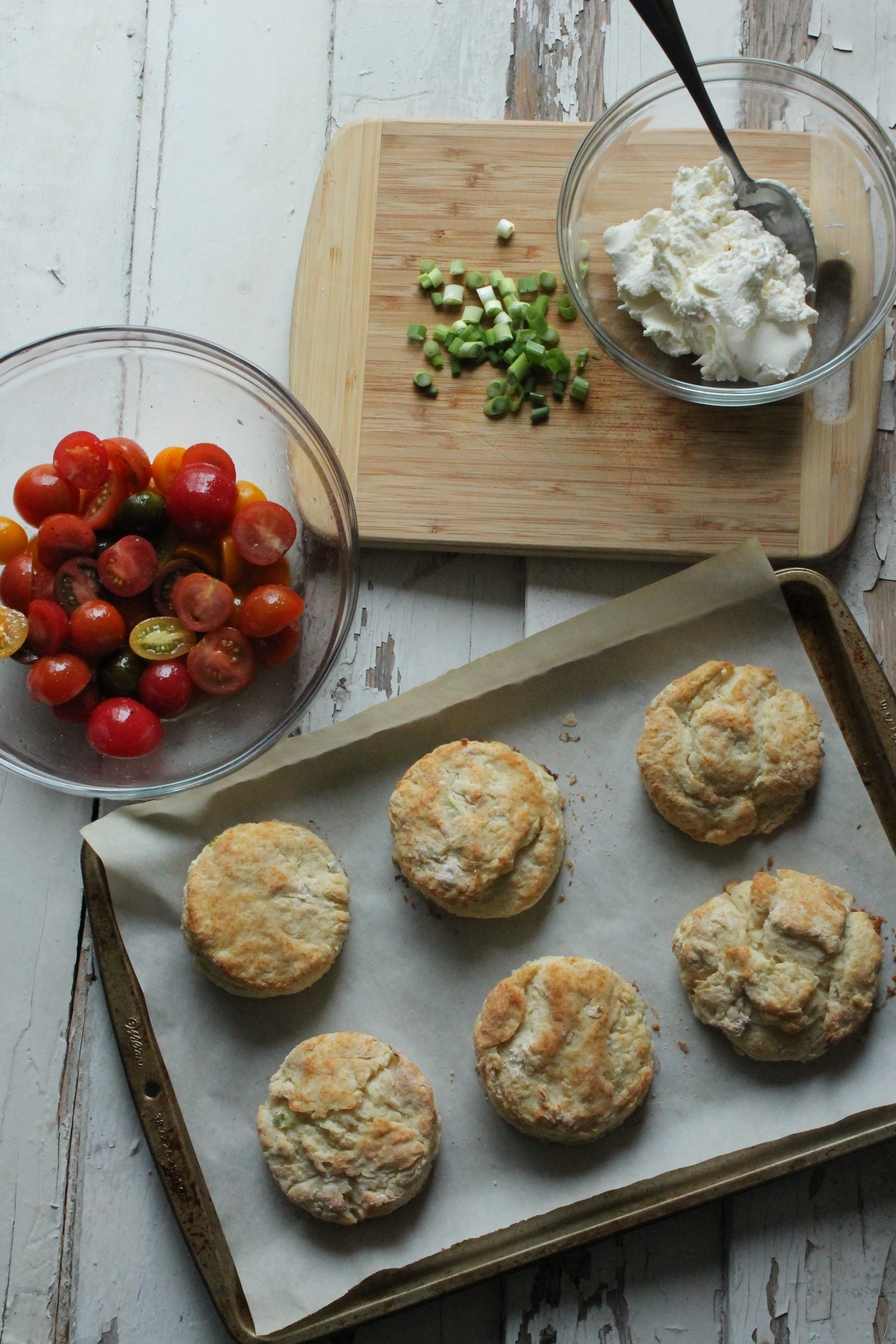 Smitten Kitchen Cookbook tomato scallion shortcakes with whipped goat cheese | stephie cooks