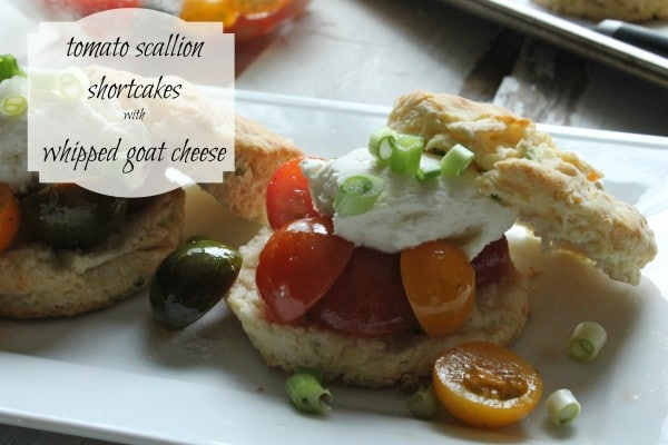 tomato scallion shortcakes e1358054958618 Tomato Scallion Shortcakes with Whipped Goat Cheese