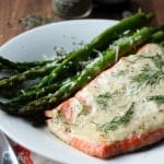 {Friends First with Seaweed & Sassafras} Wild Salmon with Dill-Mustard Sauce and Sautéed Asparagus