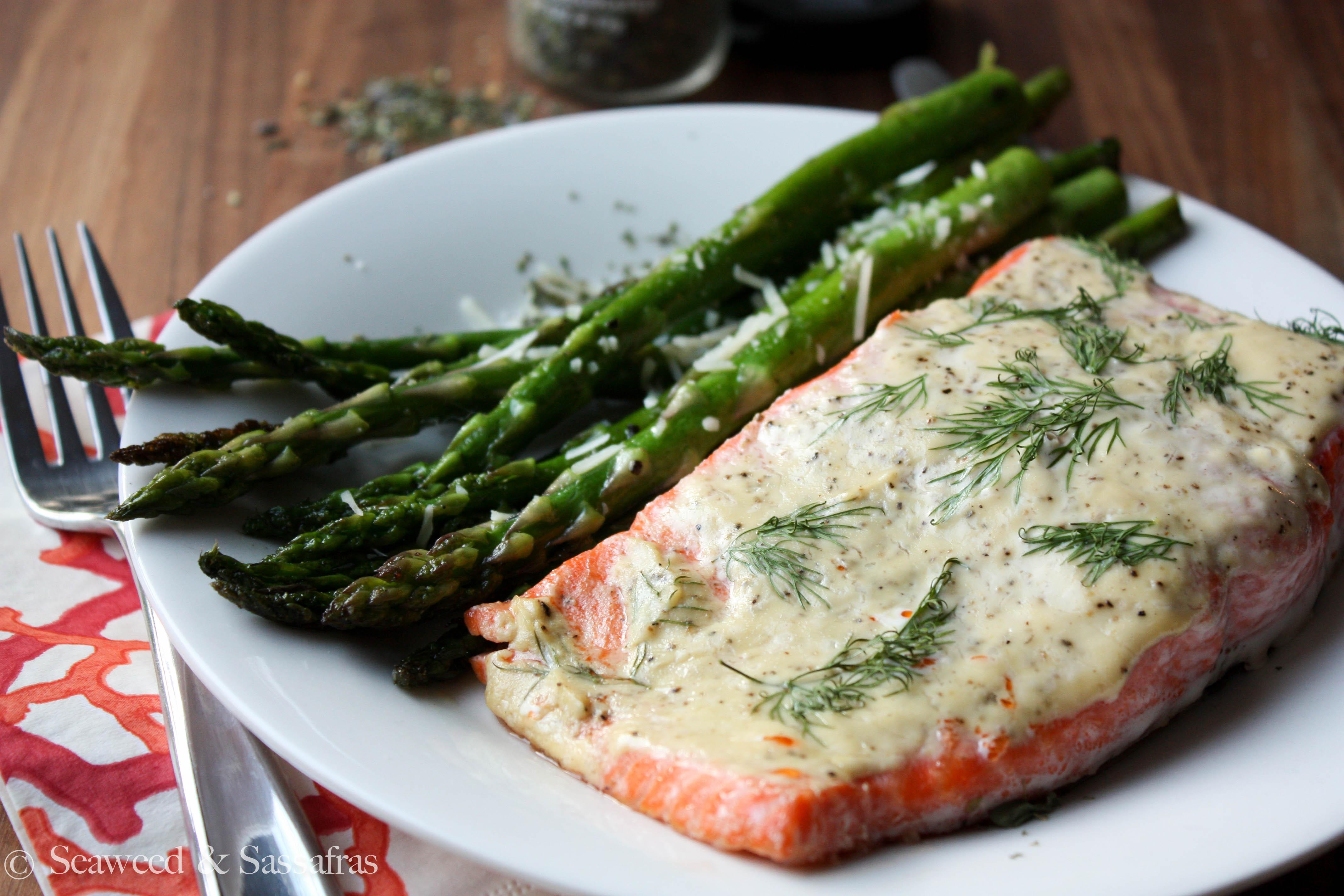Wild Salmon with Dill-Mustard Sauce and Sautéed Asparagus