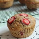 Roasted Strawberry Sourdough Muffins