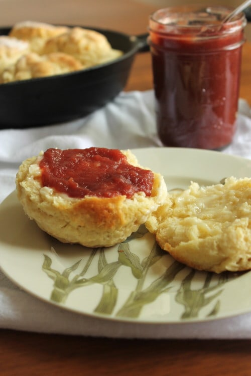 Apple Cherry Butter on a Biscuit.