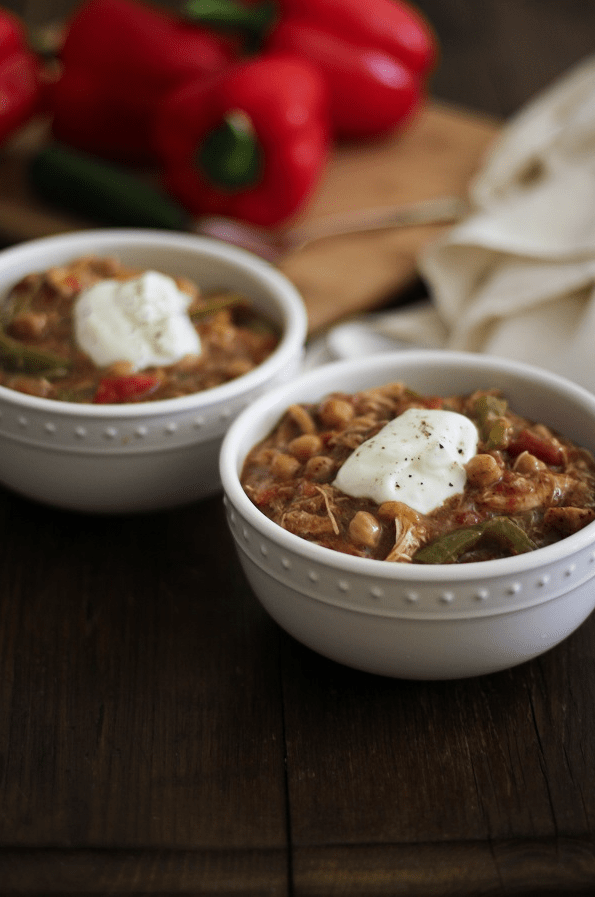 Shredded Chicken Fajita Chili from The Roasted Root